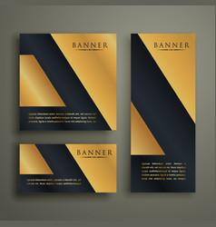 Abstract geometric premium golden banner design vector