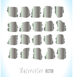 Abstract silver watercolor blots set vector image