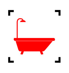bathtub sign red icon inside black focus vector image