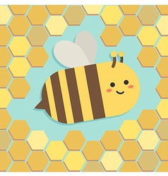Bee in yellow beehive vector