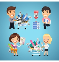 Buyers in stationery shop vector