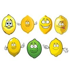 Cartoon ripe lemons and lime fruits vector