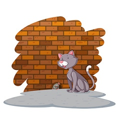 Cat waiting for the rat vector