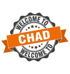 Chad round ribbon seal vector