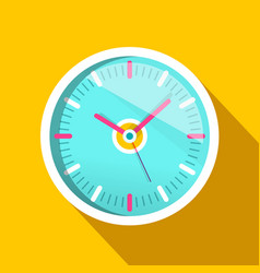 Clock icon with long shadow on yellow background vector