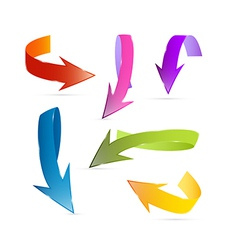 Colorful 3d Arrows Isolated on White Background vector image