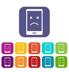 Dead phone icons set flat vector