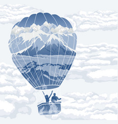 Double exposure balloon with travelers vector