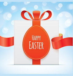 Easter greeting card with a gift box vector