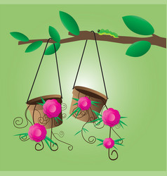 Flower pot hanging on a tree vector