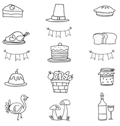Hand draw thanksgiving doodle vector