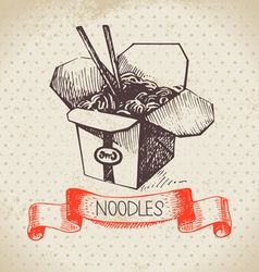 Hand drawn vintage chinese noodles background vector