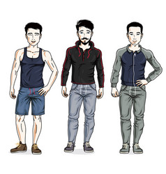 Handsome young men standing wearing stylish sport vector