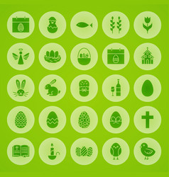 Happy easter solid circle icons vector