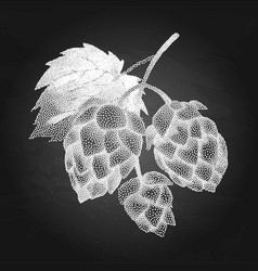 hop branch in stippling technique vector image vector image