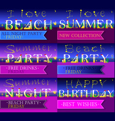 Invitation cards to parties artistic font vector