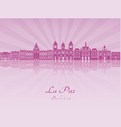 La paz skyline in purple radiant orchid vector