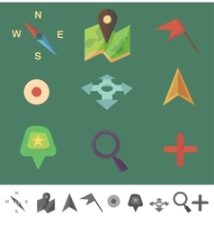 markers to map Flat colored icons vector image
