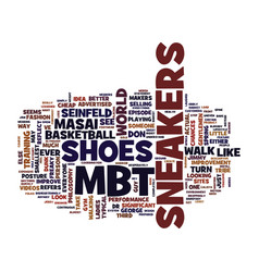 Mbt sneakers text background word cloud concept vector