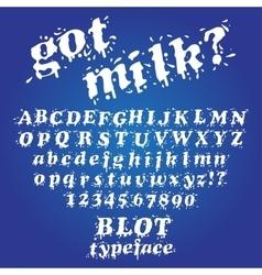 Milk blot typeface vector