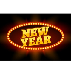 Neon retro billboard new year sign christmas vector