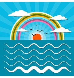 Ocean Abstract Retro with Sun Birds Rainbo vector image vector image