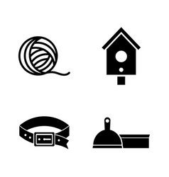 pet supplies simple related icons vector image vector image