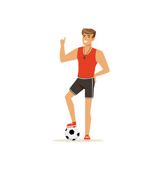 Professional fitness coach or instructor with vector