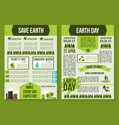 save planet and earth day poster template set vector image vector image
