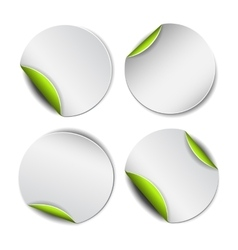 Set of white round stickers with green backside vector image vector image