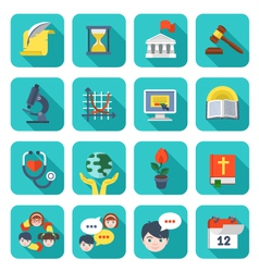 Square School Icons Set vector image