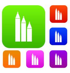 Three pencils set collection vector