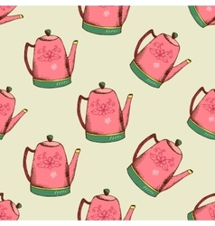 Vintage pattern with kettle vector image