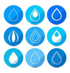 Water Drops Icons Set on Blue Circles vector image vector image