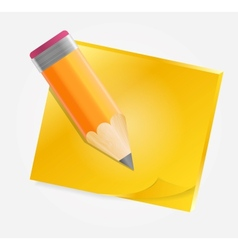 Yellow paper with pencil vector image vector image