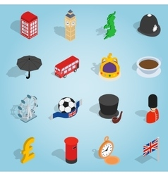 Britain set icons isometric 3d style vector