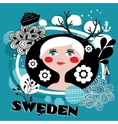 The portrait of Swedish girl vector image