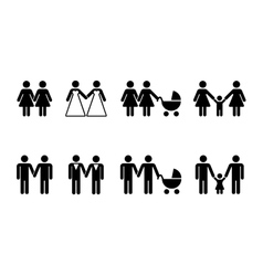 gay family with children icons white vector image