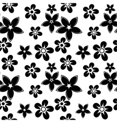 Floral silhouettes pattern black vector