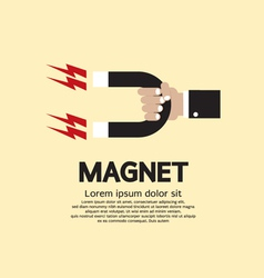 Hand holding a magnet vector
