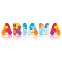 Ariana written with alphabet puzzle vector