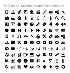 100 icons multimedia vector image