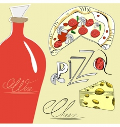 pizza cheese and wine vector image