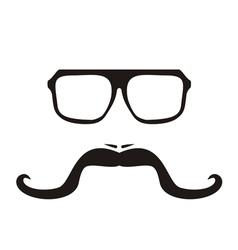 Men face with long mustache and hipster glasses vector image