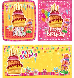Set of happy birthday cards vector