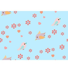 Bird and flower pattern blue vector image