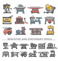 Flat icons benchtop and stationary tools vector