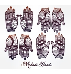 Hands with henna tattoos set vector