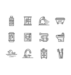 Bathroom black line icons vector