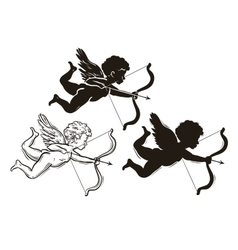 Three cute valentines angel silhouette vector